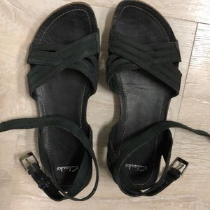 Clarks very dark teal leather sandals